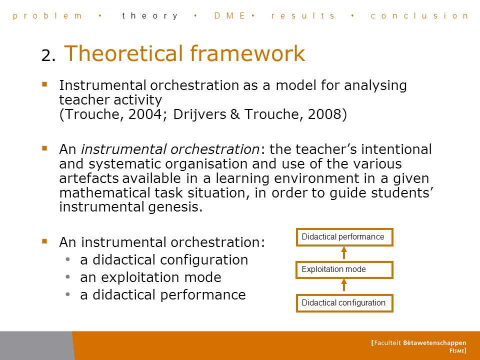 2. Theoretical framework  Instrumental orchestration as a model for analysing teacher activity (Trouche, 2004; Drijvers & Trouche, 2008)  An instrum