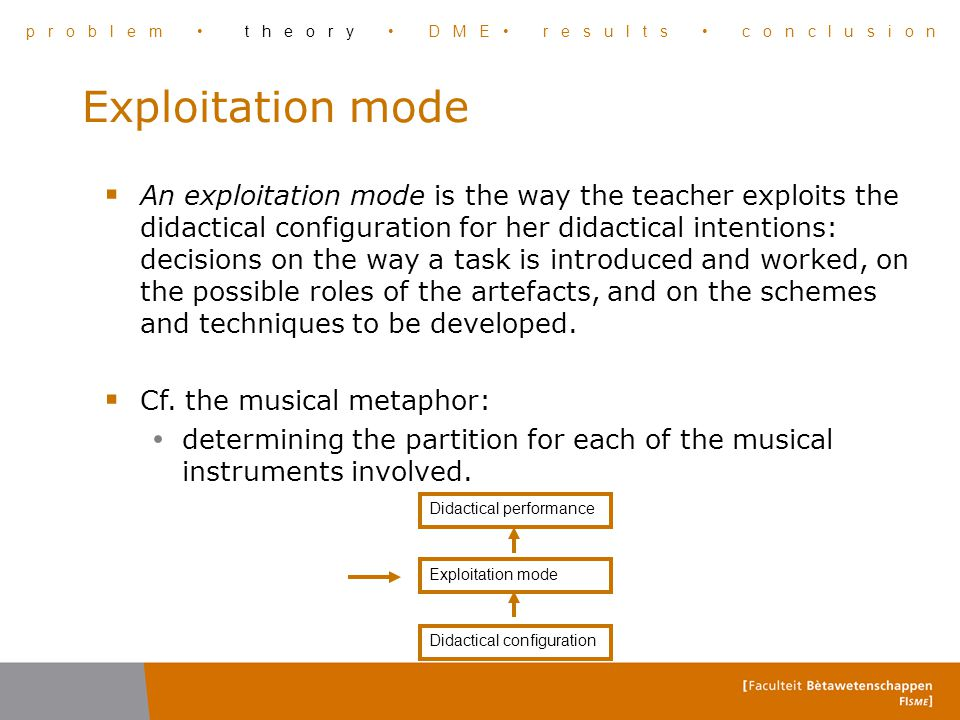 Exploitation mode  An exploitation mode is the way the teacher exploits the didactical configuration for her didactical intentions: decisions on the