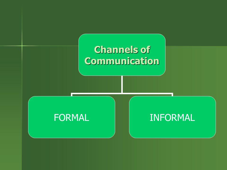Channels of Communication FORMALINFORMAL