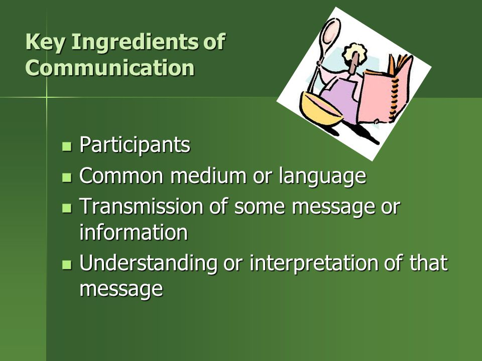 Key Ingredients of Communication Participants Participants Common medium or language Common medium or language Transmission of some message or informa