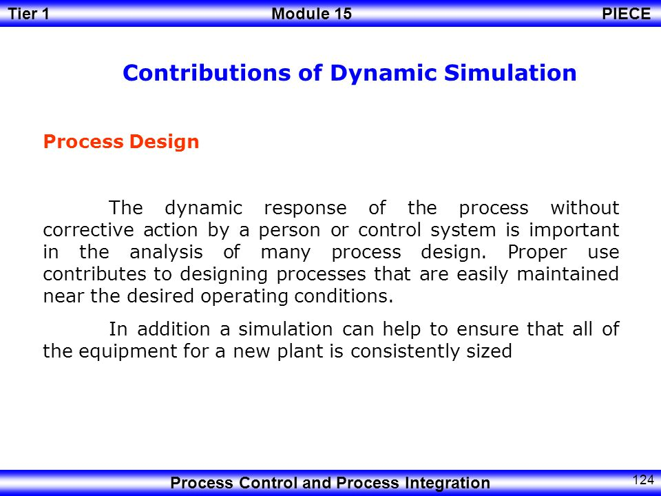 Tier 1Module 15PIECE Process Control and Process Integration 123 Process Design Analysis Off line systems On line systems Quasi on line systems Education, Training/Control System Development Advancement of plant operations /Optimization Optimization of plant operations Application Areas of Dynamic Simulation The results obtained from the dynamic simulator in the online system are feed back to the actual plant in real-time.