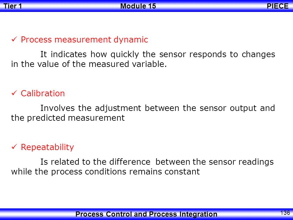 Tier 1Module 15PIECE Process Control and Process Integration 135 Spam Is the difference between the largest measurement value made by the sensor/transmitter and de lowest value Zero Is the lowest reading available from the sensor/ transmitter.
