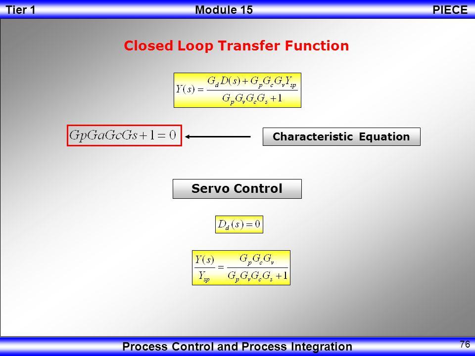 Tier 1Module 15PIECE Process Control and Process Integration 75 Sensor Error E(s)Y sp (s) Ys(s) Gs Ys(s) Y(s)