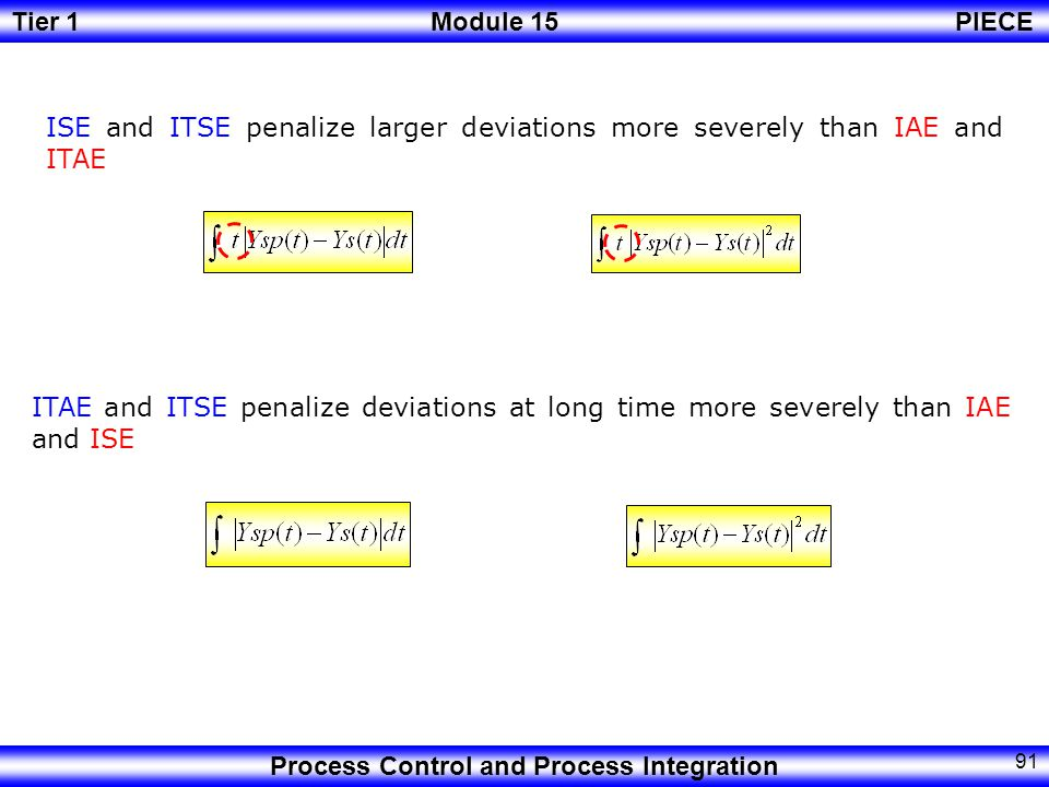 Tier 1Module 15PIECE Process Control and Process Integration 90 Performance Assessment IAE (Integral Absolute Error) ITAE (Integral Time Absolute Error) ISE (Integral Square Error) ITSE (Integral Time Square Error)