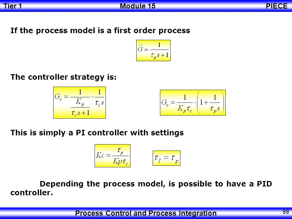 Tier 1Module 15PIECE Process Control and Process Integration 97 If the desired response form is Then The process model is required