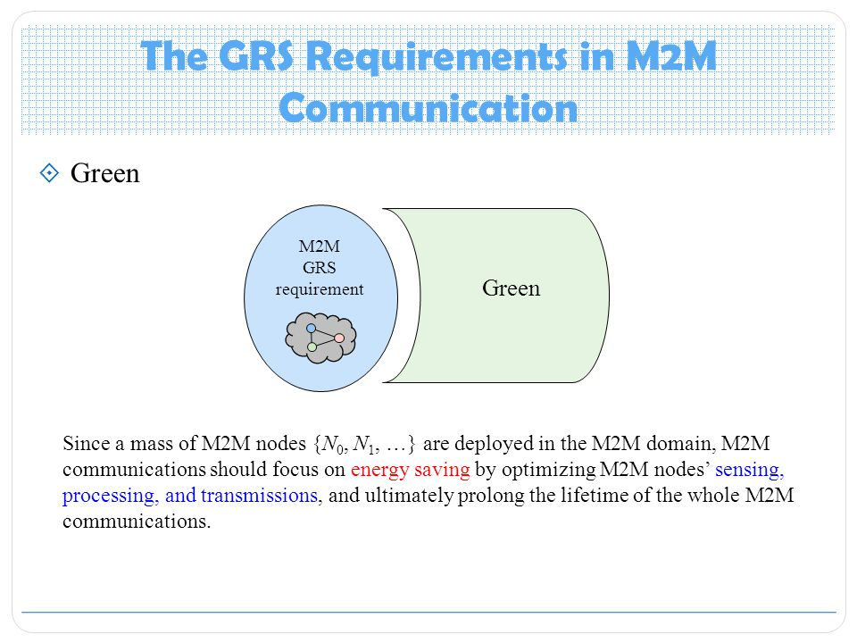 The GRS Requirements in M2M Communication  Green M2M GRS requirement Green Since a mass of M2M nodes {N 0, N 1, …} are deployed in the M2M domain, M2M communications should focus on energy saving by optimizing M2M nodes' sensing, processing, and transmissions, and ultimately prolong the lifetime of the whole M2M communications.