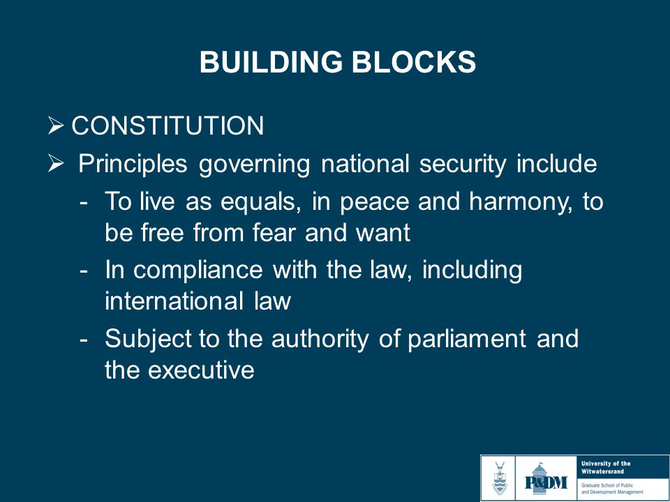 BUILDING BLOCKS  CONSTITUTION  Principles governing national security include -To live as equals, in peace and harmony, to be free from fear and want -In compliance with the law, including international law -Subject to the authority of parliament and the executive