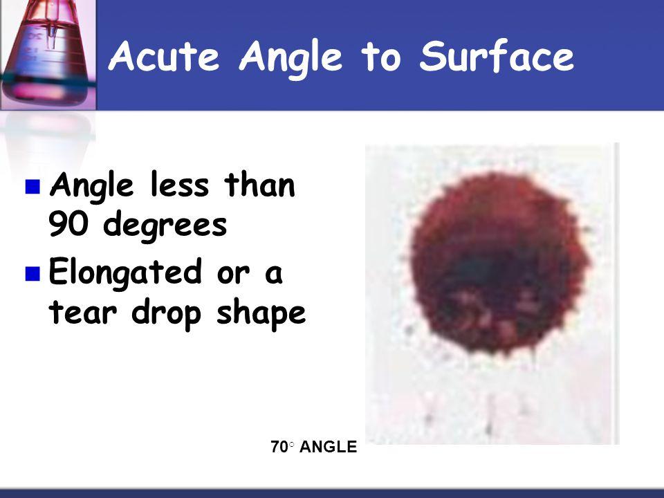 Acute Angle to Surface Angle less than 90 degrees Elongated or a tear drop shape 70 ○ ANGLE