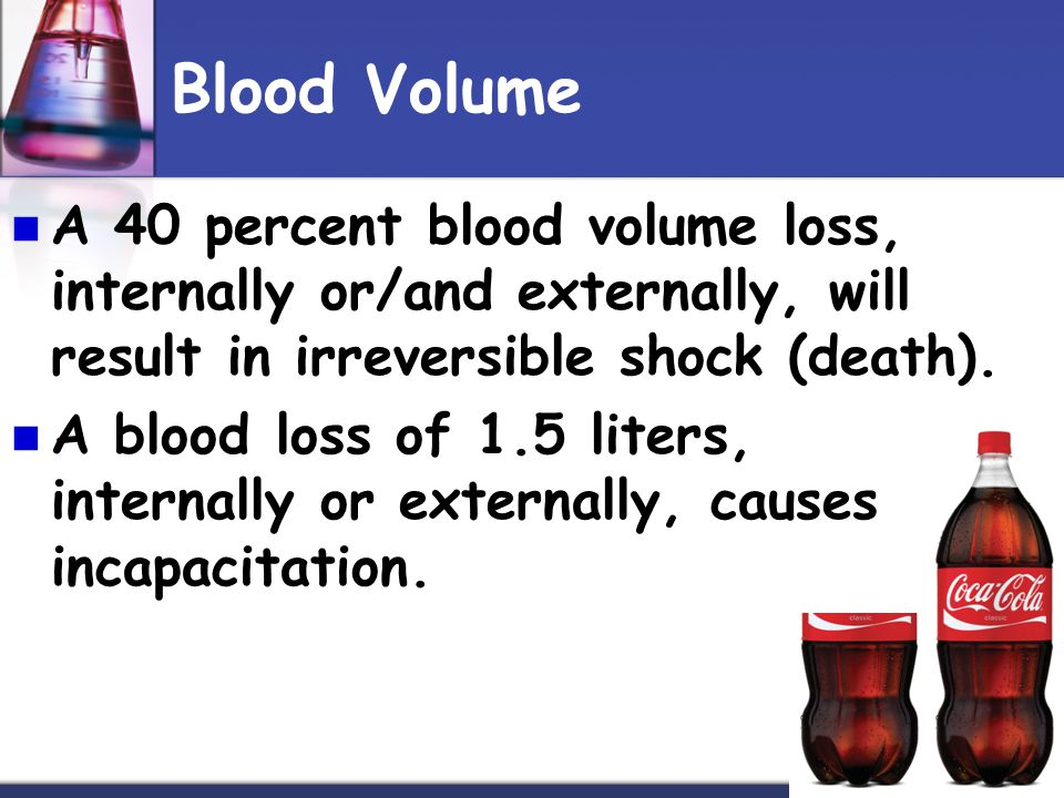 Blood Volume A 40 percent blood volume loss, internally or/and externally, will result in irreversible shock (death). A blood loss of 1.5 liters, inte