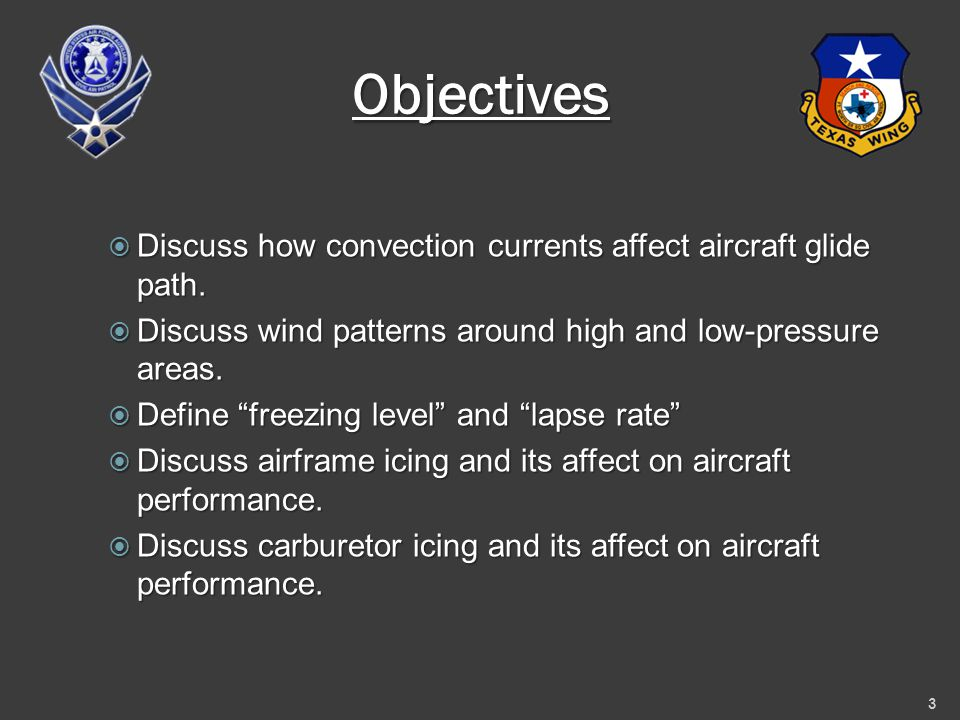 Objectives  Discuss how convection currents affect aircraft glide path.