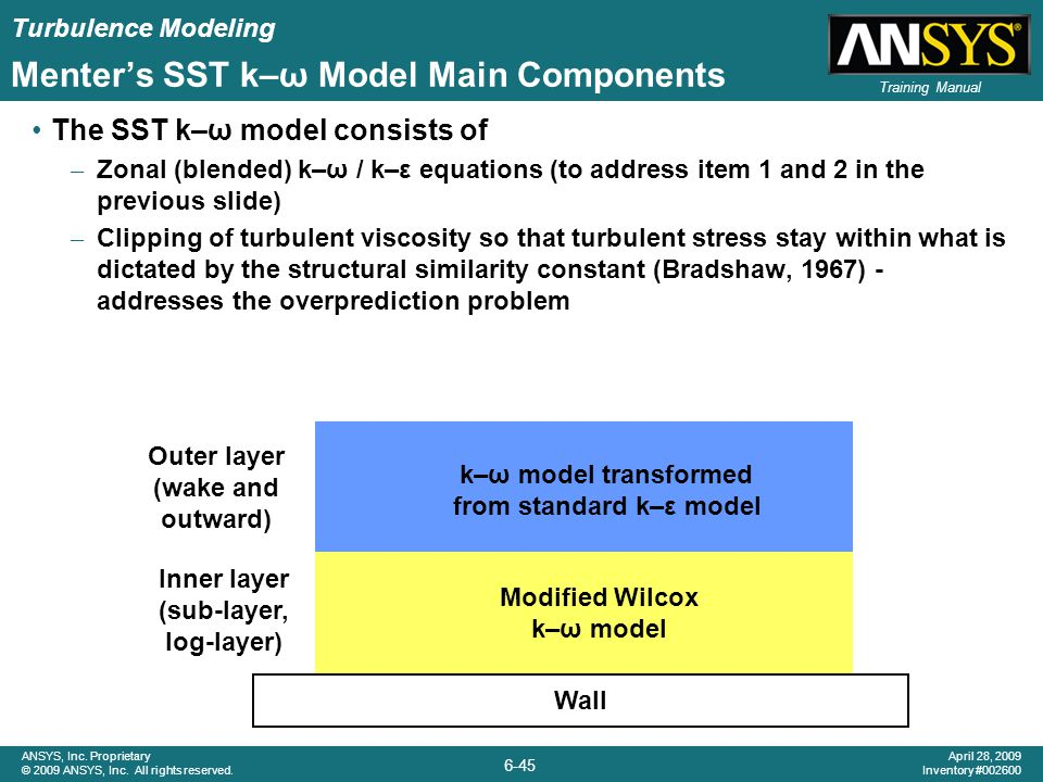 Turbulence Modeling 6-45 ANSYS, Inc. Proprietary © 2009 ANSYS, Inc. All rights reserved. April 28, 2009 Inventory #002600 Training Manual Menter's SST
