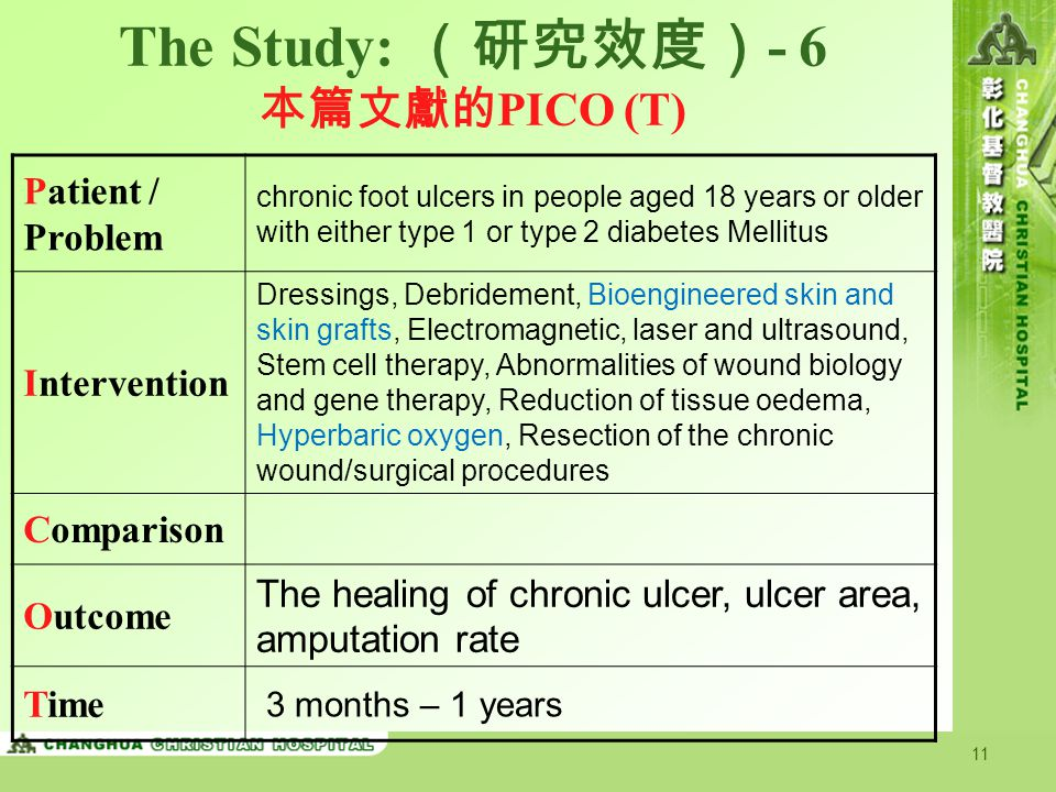 11 The Study: (研究效度) - 6 本篇文獻的 PICO (T) Patient / Problem chronic foot ulcers in people aged 18 years or older with either type 1 or type 2 diabetes M