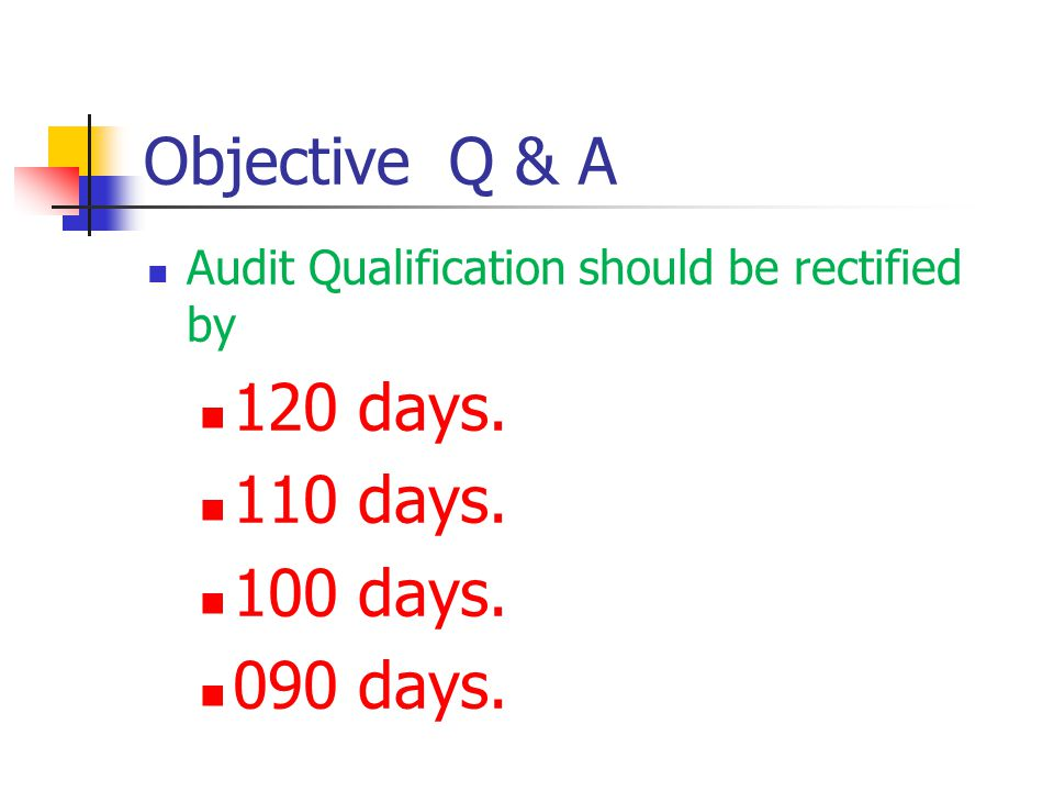 Objective Q & A Audit Qualification should be rectified by 120 days. 110 days. 100 days. 090 days.