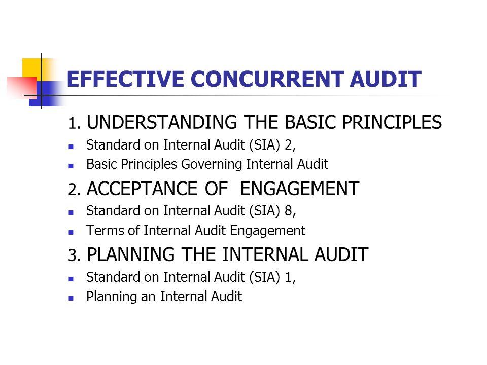 EFFECTIVE CONCURRENT AUDIT 1. UNDERSTANDING THE BASIC PRINCIPLES Standard on Internal Audit (SIA) 2, Basic Principles Governing Internal Audit 2. ACCE