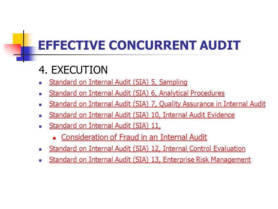EFFECTIVE CONCURRENT AUDIT 4. EXECUTION Standard on Internal Audit (SIA) 5, Sampling Standard on Internal Audit (SIA) 6, Analytical Procedures Standar