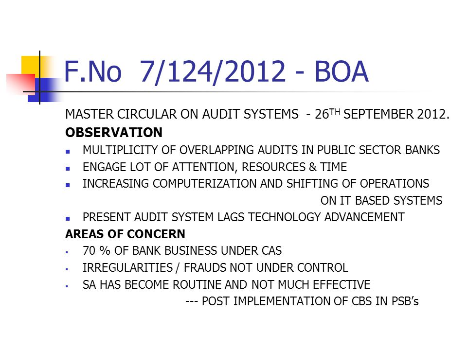 F.No 7/124/2012 - BOA MASTER CIRCULAR ON AUDIT SYSTEMS - 26 TH SEPTEMBER 2012. OBSERVATION MULTIPLICITY OF OVERLAPPING AUDITS IN PUBLIC SECTOR BANKS E