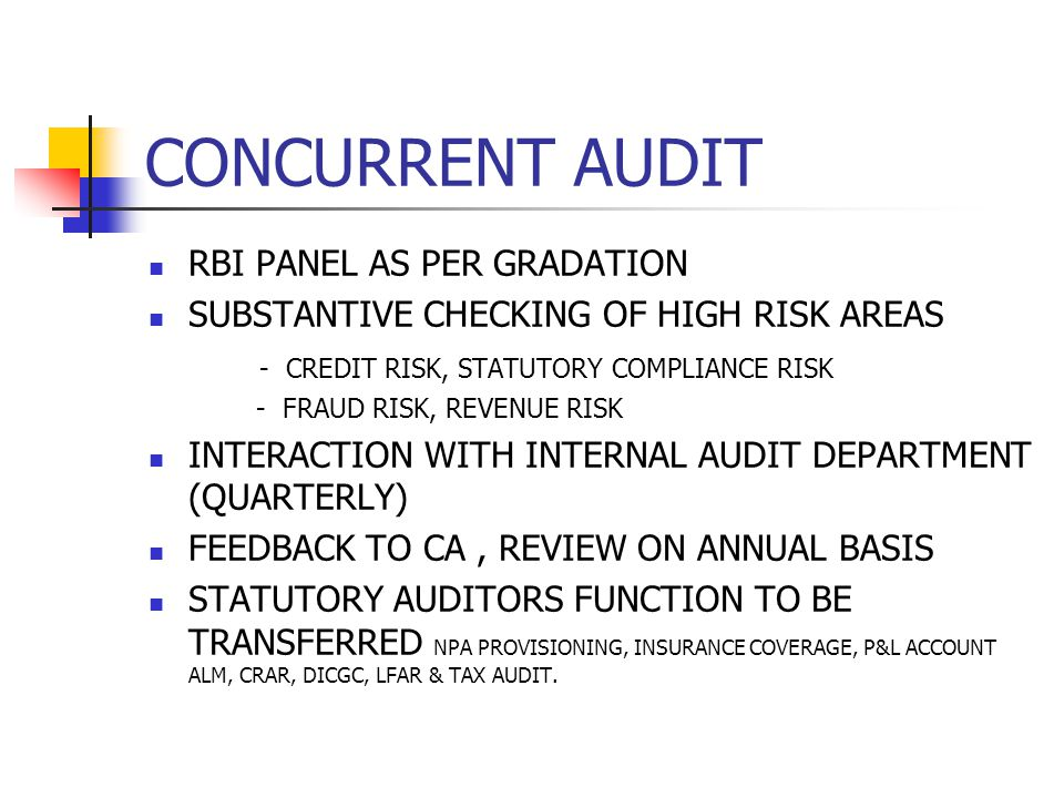 PRESENT STATE OF AFFAIRS Audit Manuals are provided by the Banks.