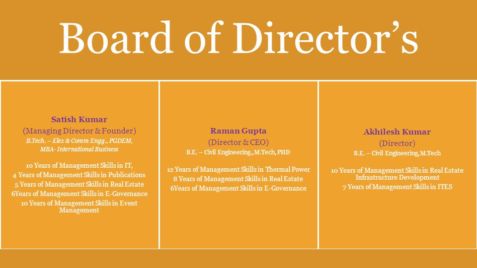 Board of Director's Satish Kumar (Managing Director & Founder) B.Tech.