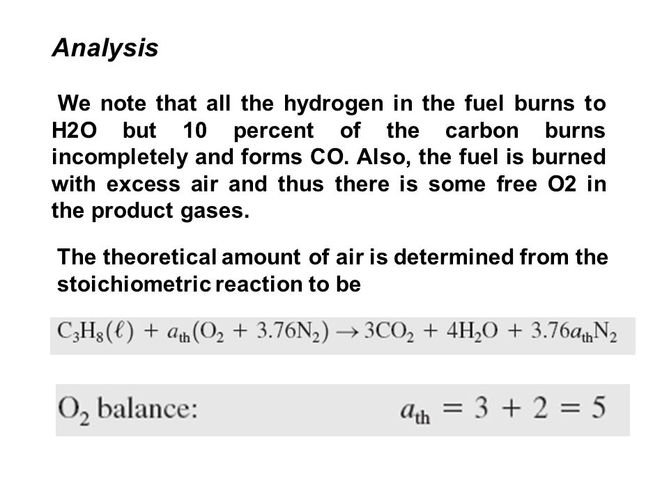 Analysis We note that all the hydrogen in the fuel burns to H2O but 10 percent of the carbon burns incompletely and forms CO.