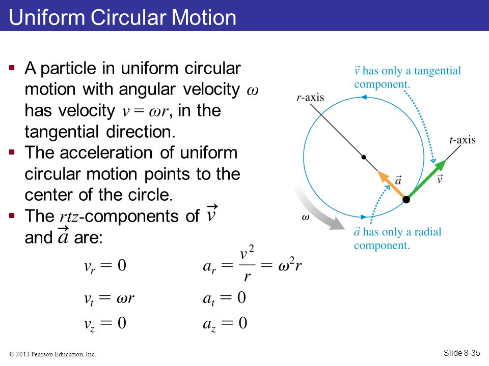 © 2013 Pearson Education, Inc. Uniform Circular Motion  A particle in uniform circular motion with angular velocity ω has velocity v = ωr, in the tan