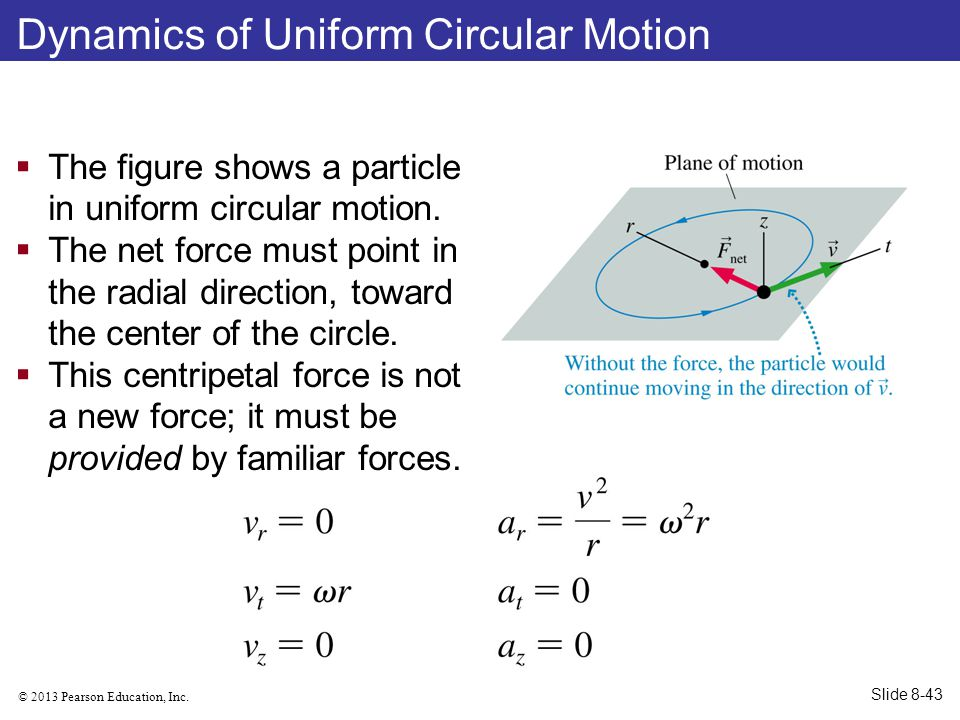 © 2013 Pearson Education, Inc. Dynamics of Uniform Circular Motion  The figure shows a particle in uniform circular motion.  The net force must poin