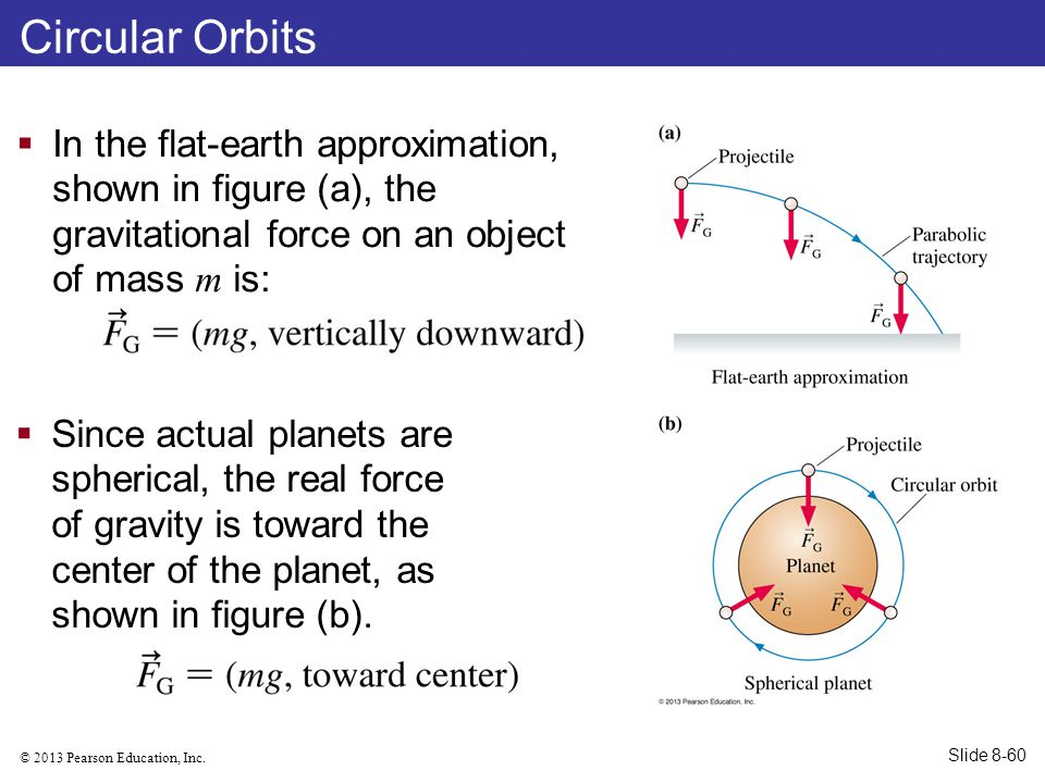 © 2013 Pearson Education, Inc. Circular Orbits  In the flat-earth approximation, shown in figure (a), the gravitational force on an object of mass m