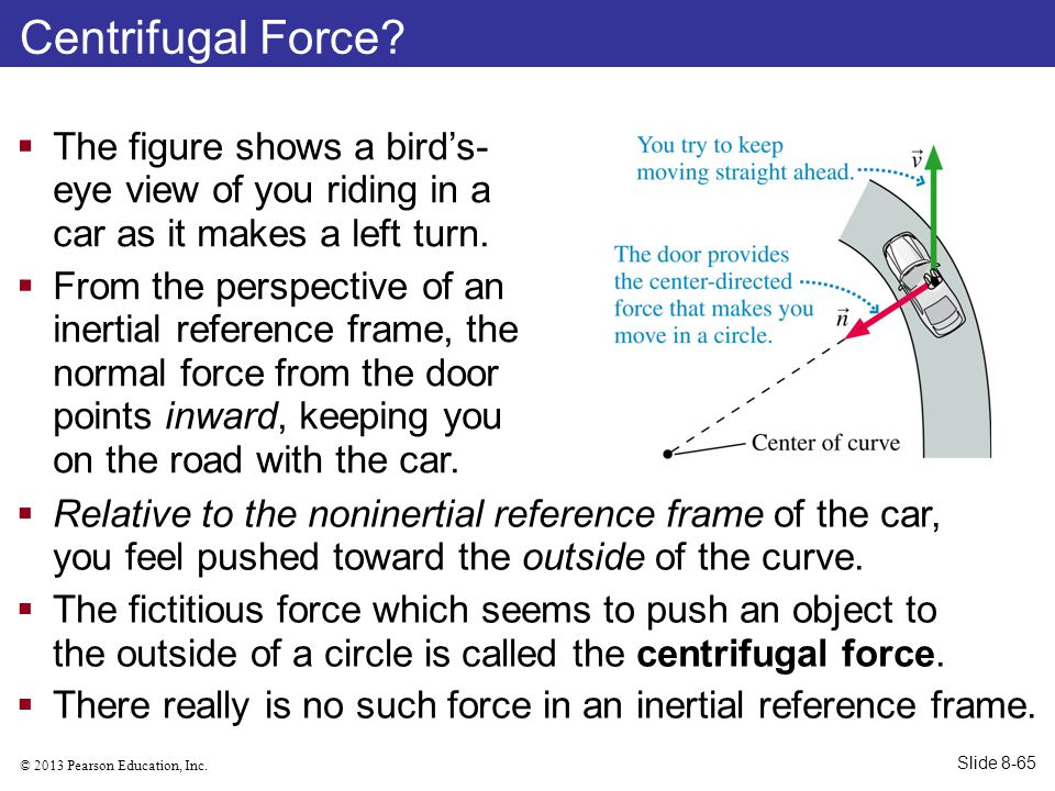 © 2013 Pearson Education, Inc. Centrifugal Force?  The figure shows a bird's- eye view of you riding in a car as it makes a left turn.  From the per