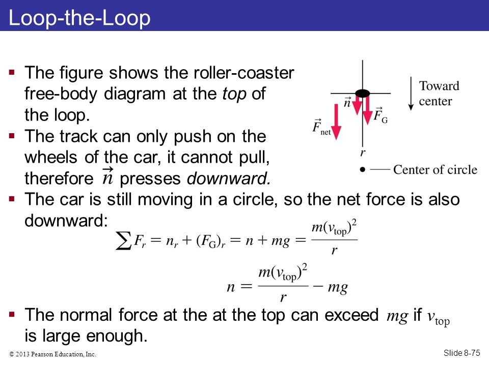 © 2013 Pearson Education, Inc. Loop-the-Loop  The figure shows the roller-coaster free-body diagram at the top of the loop.  The track can only push