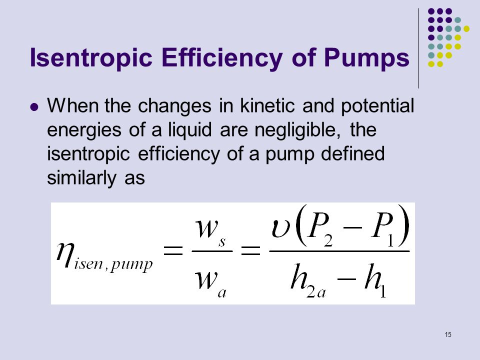 15 Isentropic Efficiency of Pumps When the changes in kinetic and potential energies of a liquid are negligible, the isentropic efficiency of a pump d