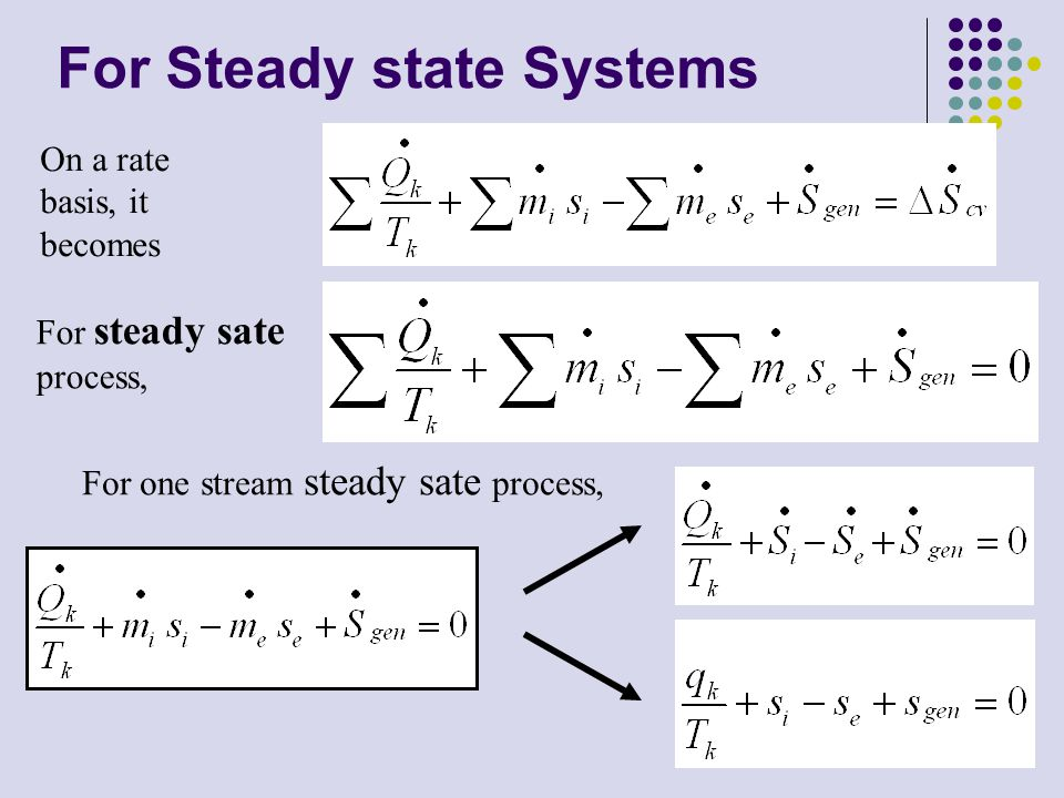 2 For steady sate process, On a rate basis, it becomes For one stream steady sate process, For Steady state Systems