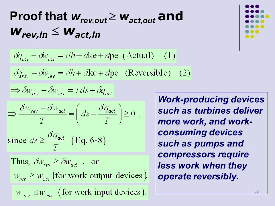 28 Proof that w rev,out  w act,out and w rev,in  w act,in Work-producing devices such as turbines deliver more work, and work- consuming devices suc