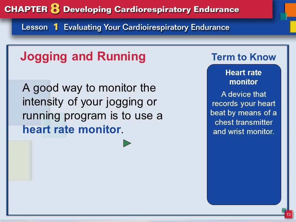 13 Jogging and Running A good way to monitor the intensity of your jogging or running program is to use a heart rate monitor. Heart rate monitor A dev