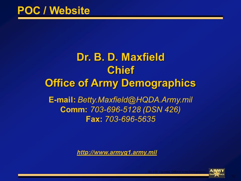 Dr.B.D. Maxfield, Office of Army Demographics Dr.