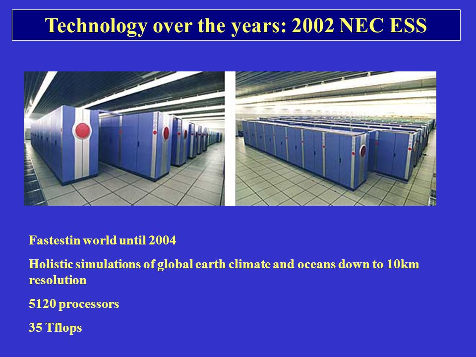 Technology over the years: 2002 NEC ESS Fastestin world until 2004 Holistic simulations of global earth climate and oceans down to 10km resolution 5120 processors 35 Tflops