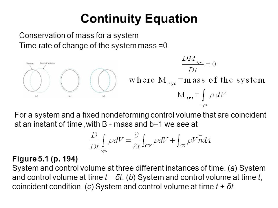 Continuity Equation Conservation of mass for a system Time rate of change of the system mass =0 For a system and a fixed nondeforming control volume t
