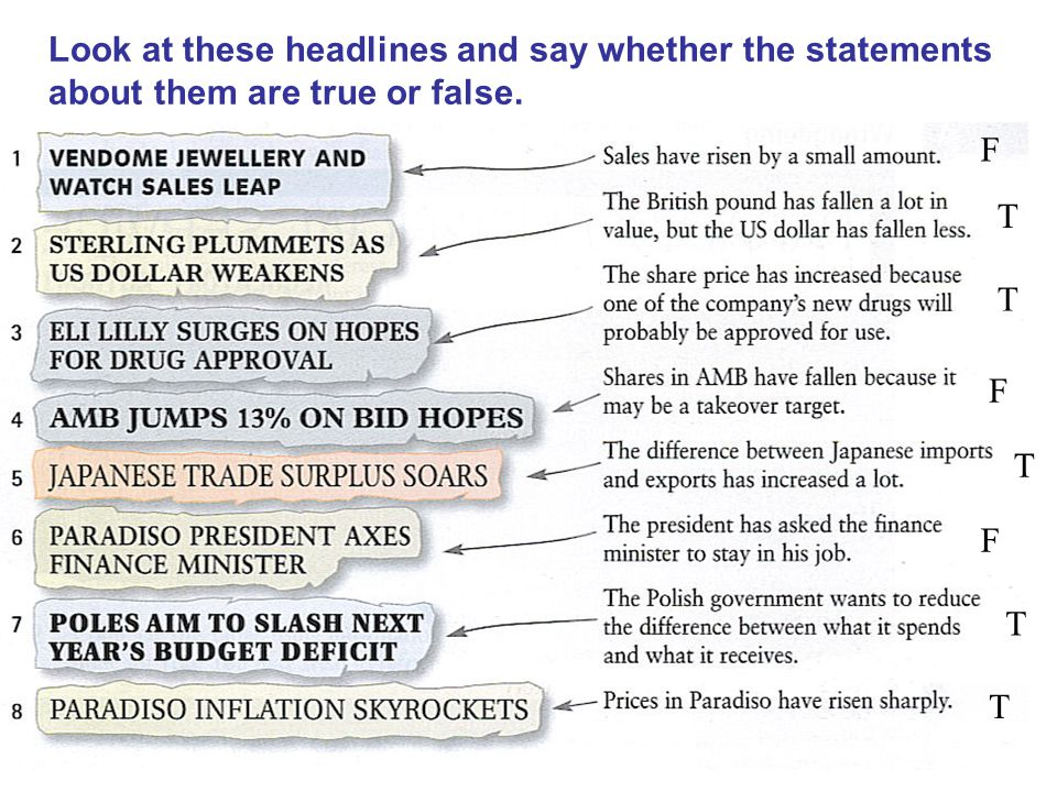 Look at these headlines and say whether the statements about them are true or false. F T T F T F T T