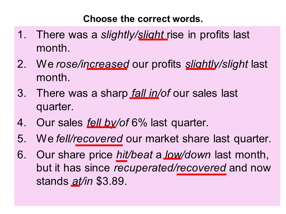 Choose the correct words. 1.There was a slightly/slight rise in profits last month. 2.We rose/increased our profits slightly/slight last month. 3.Ther