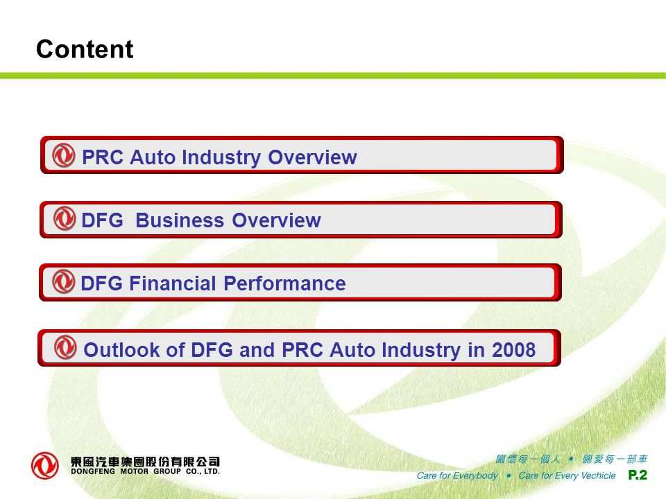 P.2 Content PRC Auto Industry Overview DFG Business Overview DFG Financial Performance Outlook of DFG and PRC Auto Industry in 2008