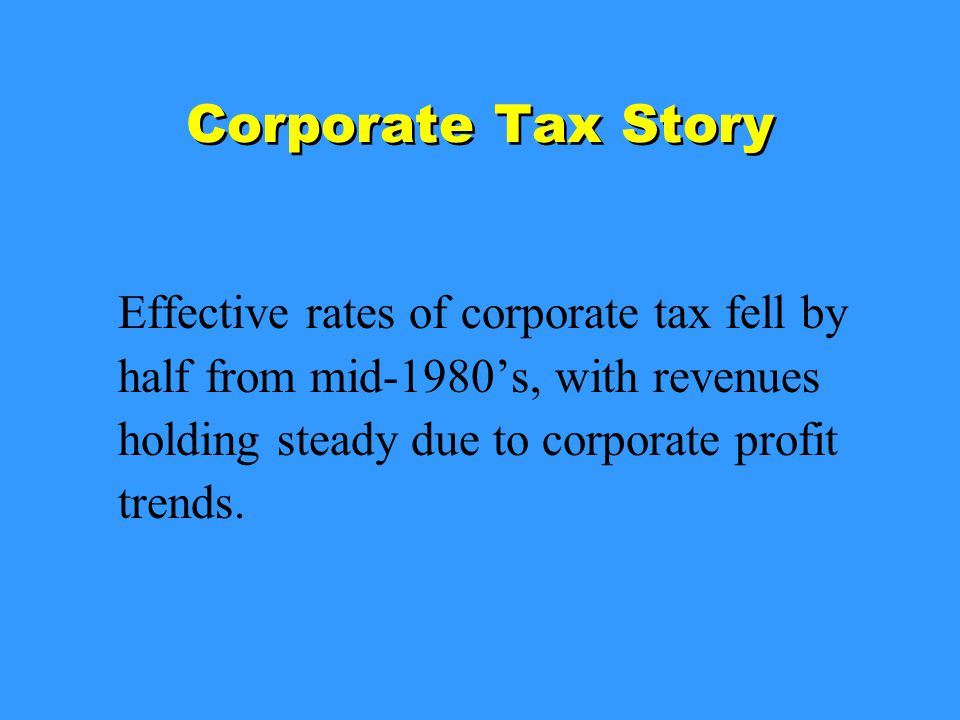 Corporate Tax Story Effective rates of corporate tax fell by half from mid-1980's, with revenues holding steady due to corporate profit trends.