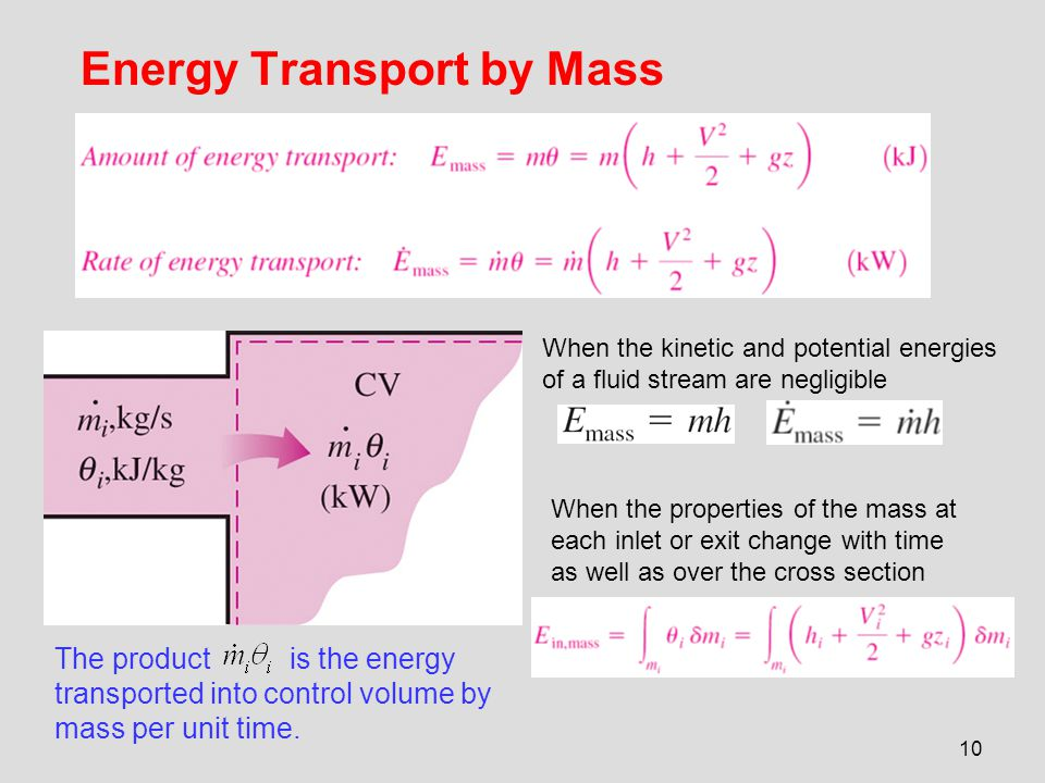 10 Energy Transport by Mass The product is the energy transported into control volume by mass per unit time. When the kinetic and potential energies o