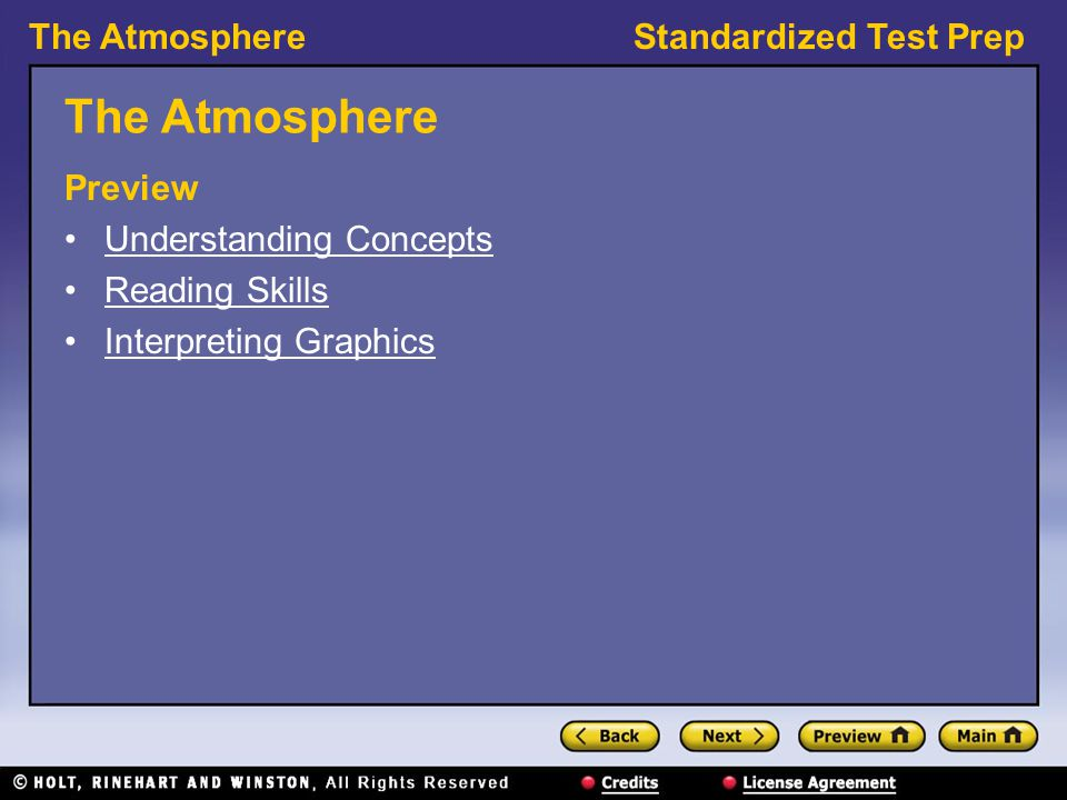 The AtmosphereStandardized Test Prep The Atmosphere Preview Understanding Concepts Reading Skills Interpreting Graphics