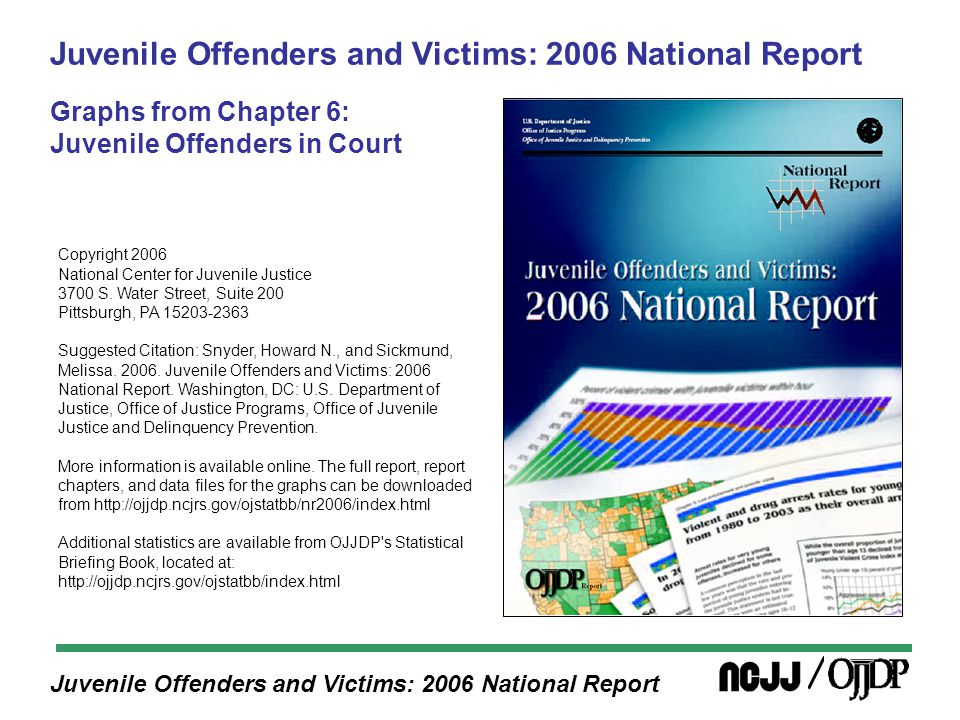 Juvenile Offenders and Victims: 2006 National Report Between 1985 and 2002, the number of cases in which the youth was adjudicated delinquent and ordered to formal probation increased for all offense categories