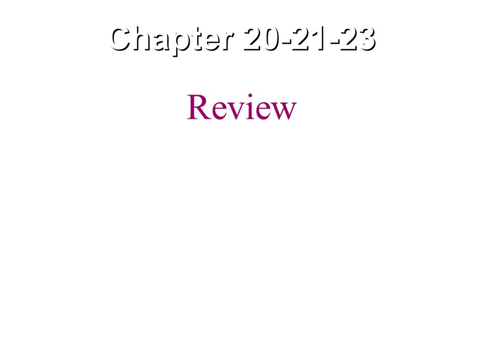 Chapter 20-21-23 Review