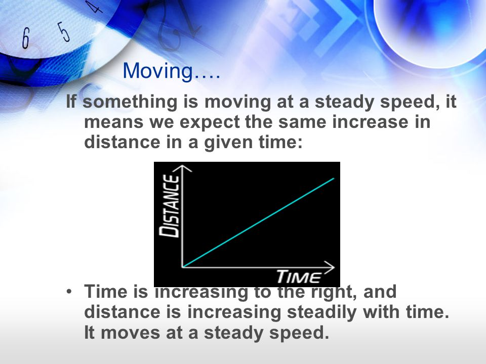 Moving…. If something is moving at a steady speed, it means we expect the same increase in distance in a given time: Time is increasing to the right,