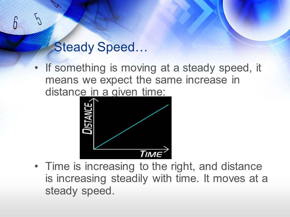 Steady Speed… If something is moving at a steady speed, it means we expect the same increase in distance in a given time: Time is increasing to the ri