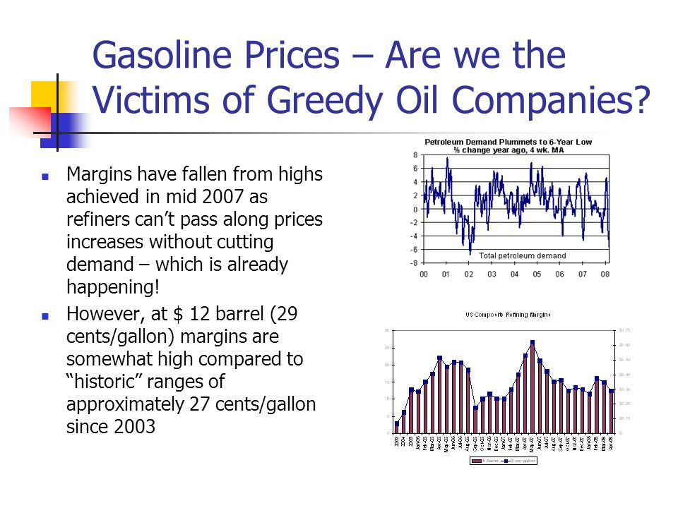 Gasoline Prices – Are we the Victims of Greedy Oil Companies.