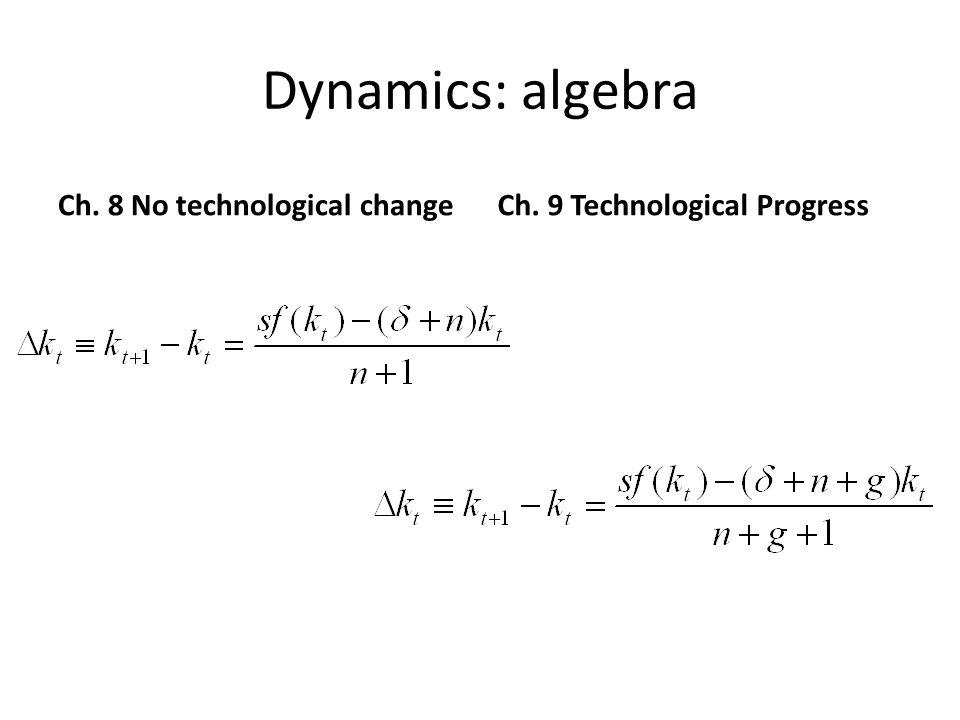 Dynamics: algebra Ch. 8 No technological changeCh. 9 Technological Progress