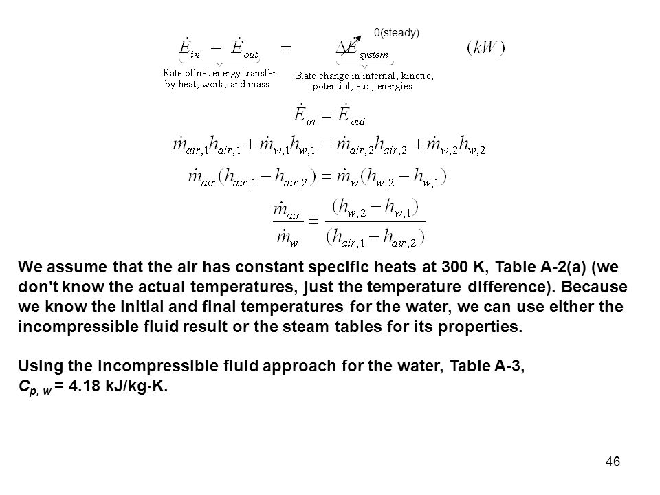 46 0(steady) We assume that the air has constant specific heats at 300 K, Table A-2(a) (we don't know the actual temperatures, just the temperature di