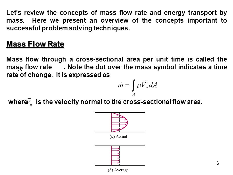 6 Let's review the concepts of mass flow rate and energy transport by mass. Here we present an overview of the concepts important to successful proble