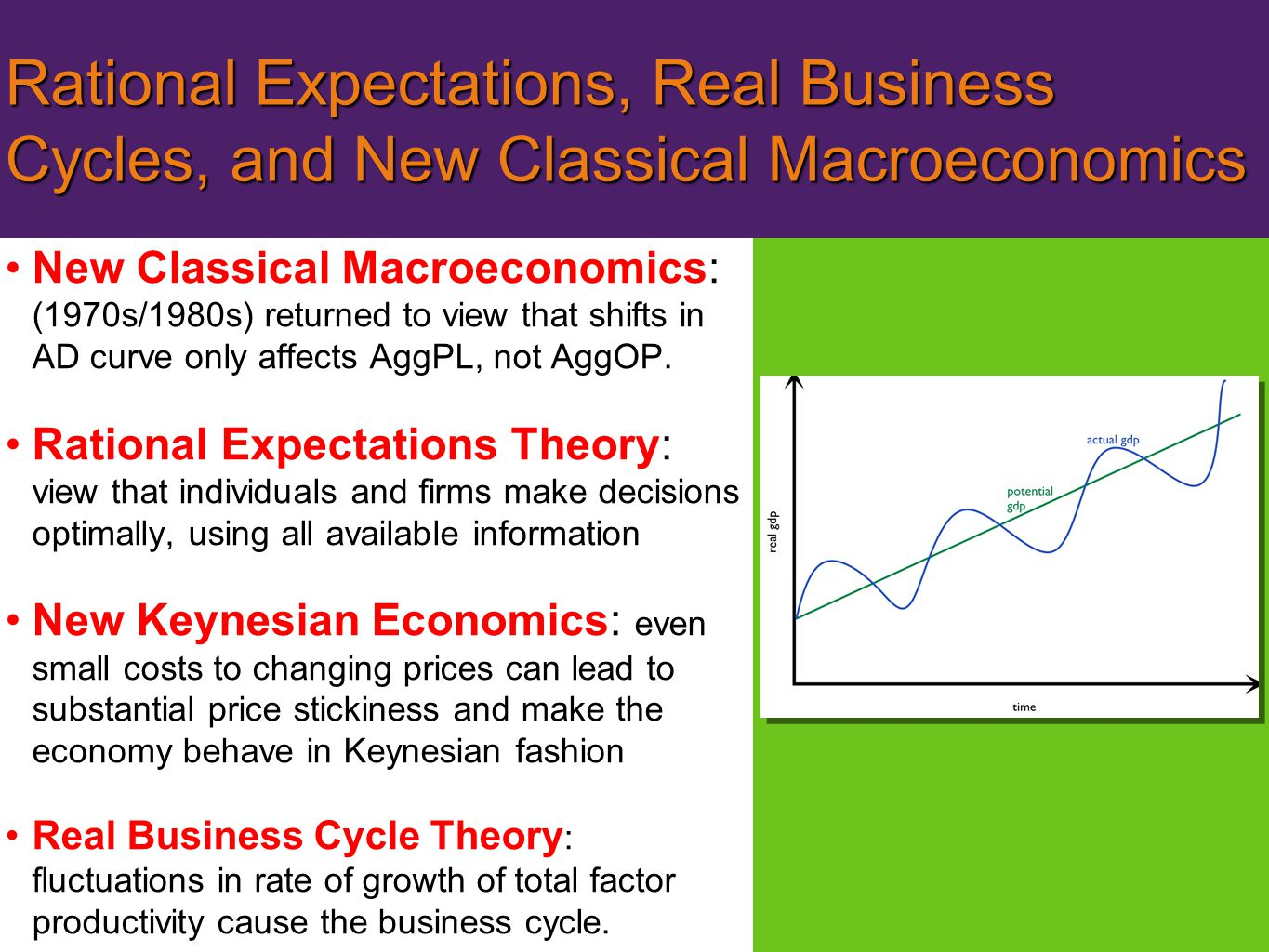 Rational Expectations, Real Business Cycles, and New Classical Macroeconomics New Classical Macroeconomics: (1970s/1980s) returned to view that shifts